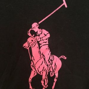 Ralph Lauren Black Pink Pony T-Shirt Slim Fit XL